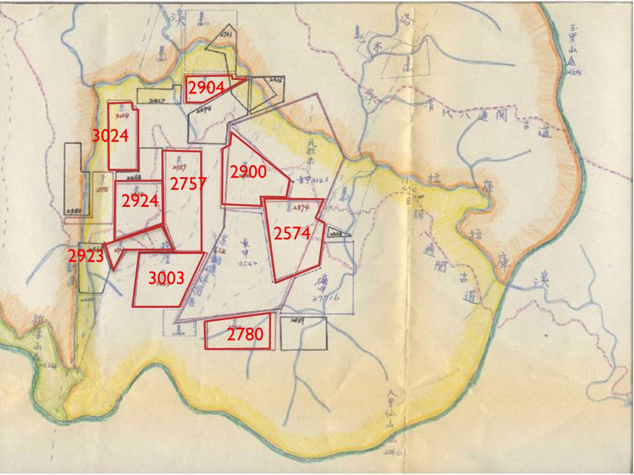 玉山NP公告範圍礦區分布圖