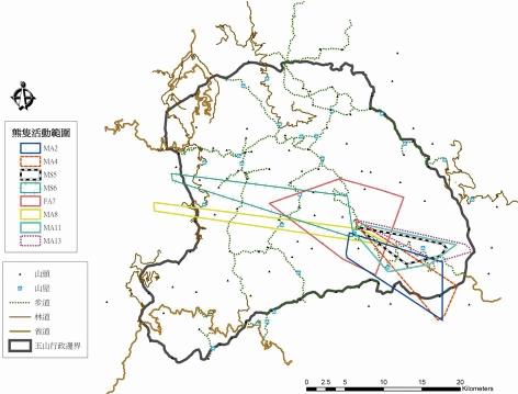 2000年無線電追蹤資料範圍圖